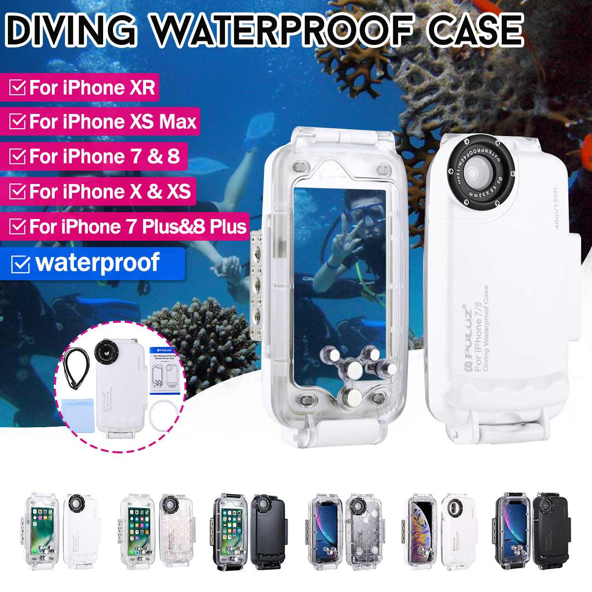 PULUZ 40m Waterproof Housing Photo Taking Underwater Snorkeling Video Taking Cover For iPhone 7,8 ,7 Plus,8 Plus ,X,XS,XS Max,XRPULUZ 40m Waterproof Housing Photo Taking Underwater Snorkeling Video Taking Cover For iPhone 7,8 ,7 Plus,8 Plus ,X,XS,XS Max,XR