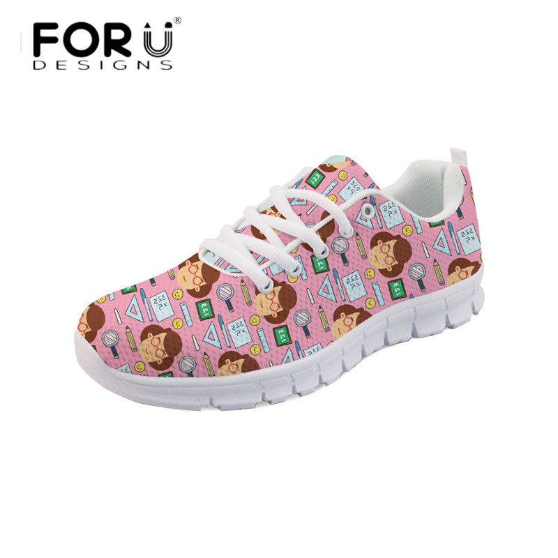 FORUDESIGNS Pink Fashion Flat Shoes Cartoon Teacher Printed Women's Lace Up Spring Comfortable Shoes Breathable Flats Zapatos forudesigns women casual sneaker cartoon cute nurse printed flats fashion women s summer comfortable breathable girls flat shoes