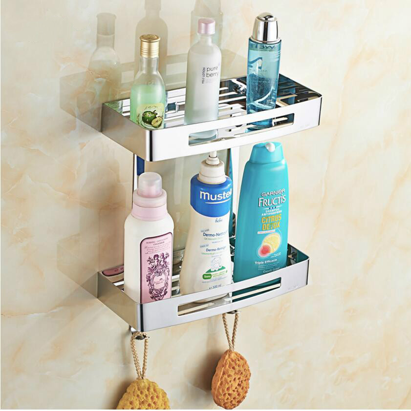 Stainless Steel Square with 2 layers Shelf Rack Wall Mounted Bathroom Frame Basket with Unqiue Open Half vik max adult kids dark blue leather figure skate shoes with aluminium alloy frame and stainless steel ice blade