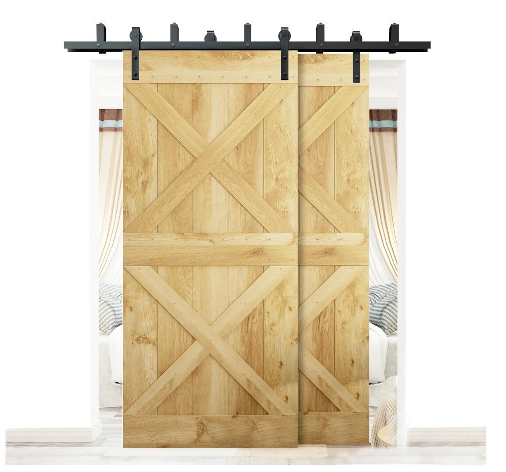 DIYHD 5ft-8ft Rustic Black Bypass Sliding Barn Wood Door Hardware Bypass Double Sliding Barn Door Bracket Track Kit