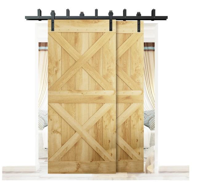 Diyhd 5ft 8ft Rustic Black Bypass Sliding Barn Wood Door Hardware