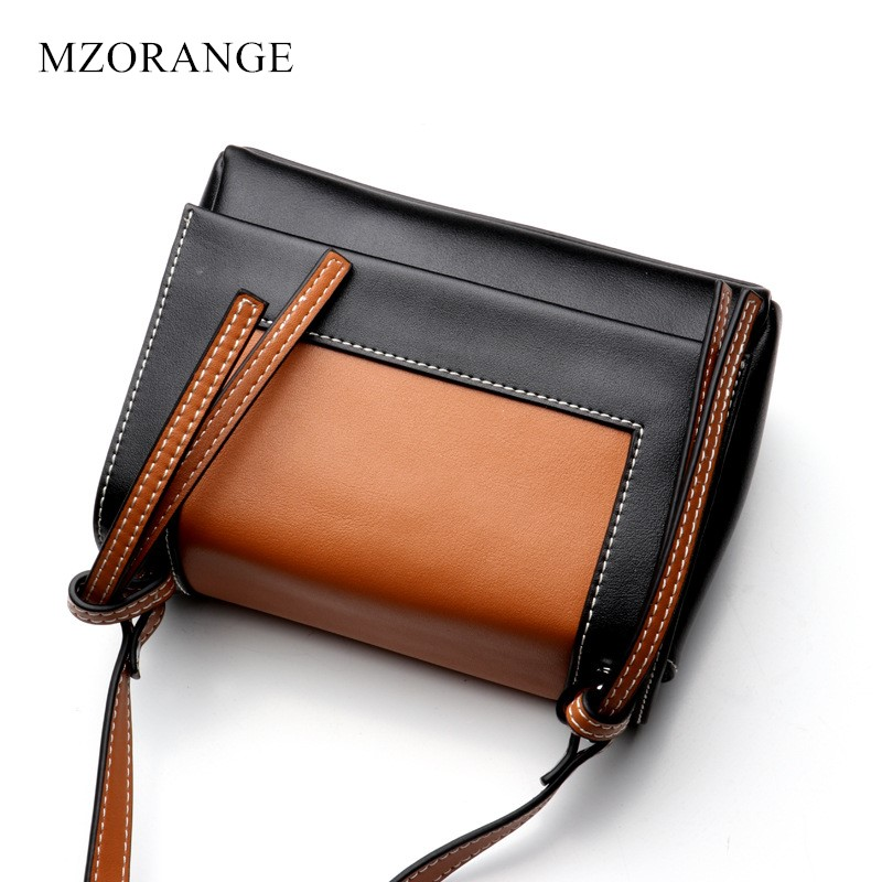 цена на Women Genuine Leather Small Bag Fashion Panelled Handbag Crossbody Shoulder Bag Female Casual Hit Color Mini Messenger Bag