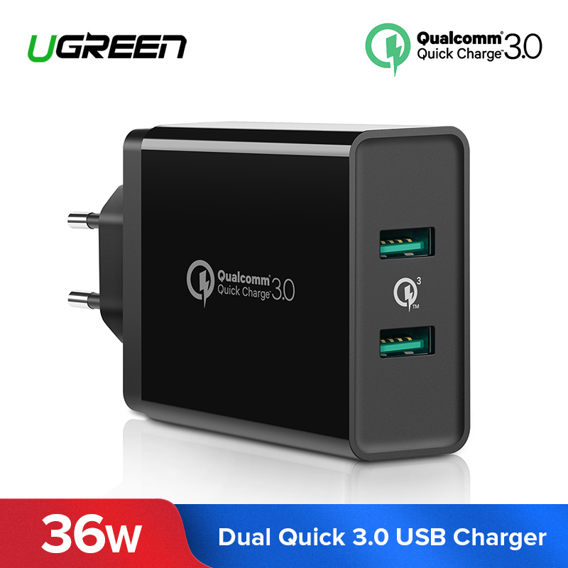 Ugreen carga rápida 3,0 36 w cargador USB para iPhone X 8 Plus rápido QC 3,0 cargador para Samsung Galaxy s9 Xiao mi 8 cargador USB