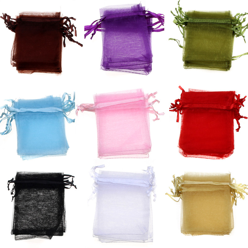 50/100pcs jewelry organza bags 5x7 7x9 9x12 13x18cm packaging gift bags for jewellery storage Christmas Wedding Decoration