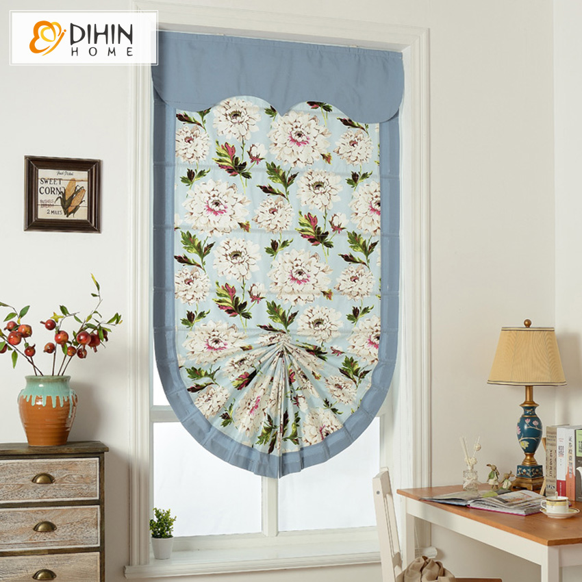 Included Curtains Fan Shaped Printed Curtain Thickening Linen Cotton Rollor Blind Roman Shade Blinds Customized In From Home Garden On