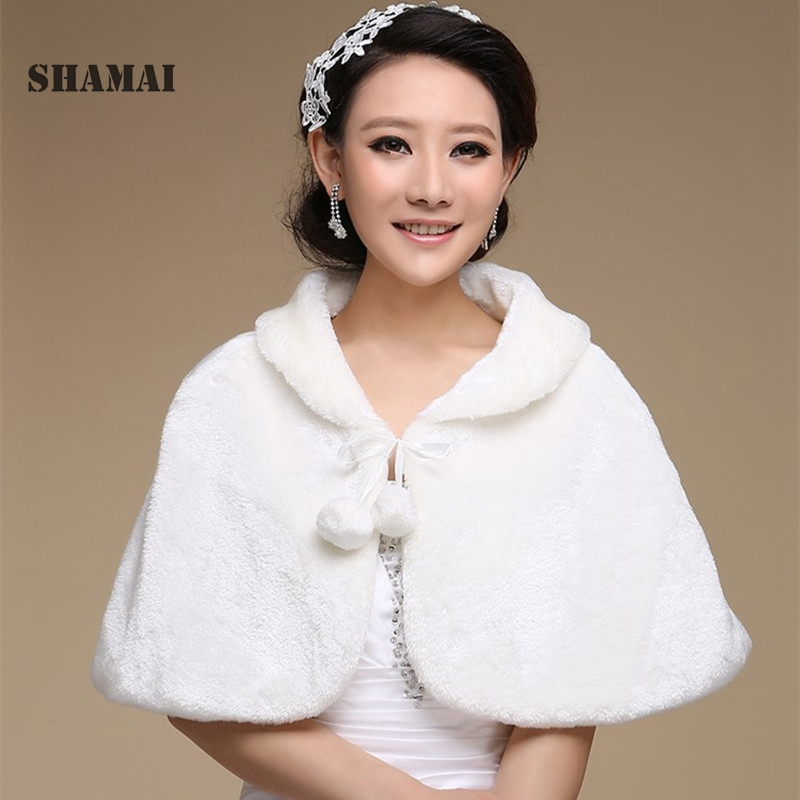 Us 19 92 17 Off Shamai Women Winter Sleeveless Cheap Bridal Wraps Warm Fur Boleros Bridal Shrug Stole Faux Fur Bridal Wrap Shrug Al5466 In Wedding