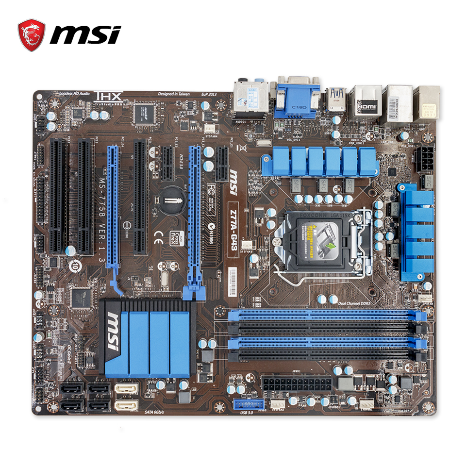 MSI Z77A-G43 Original Used Desktop Motherboard Z77 Socket LGA 1155 i3 i5 i7 DDR3 32G SATA3 USB3.0 ATX original motherboard 664040 001 685772 001 ipmmb fm chipset z75 socket 1155 ddr3 usb3 0 work perfect