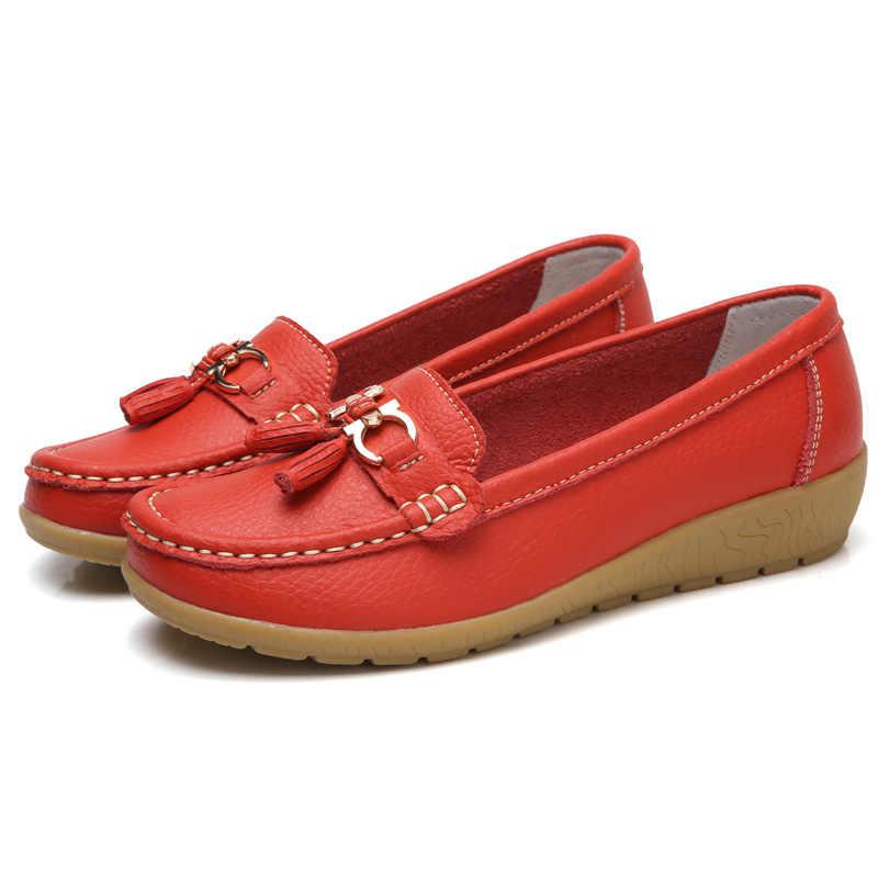 Женская обувь на плоской подошве; Большой размер 44; женская обувь из натуральной кожи; слипоны на низком каблуке; chaussures femme; Повседневные балетки на плоской подошве; женские лоферы