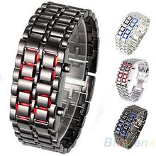 Hot Sales 2013 New Fashion Men Women Lava Iron Samurai Metal LED Faceless Bracelet Watch Wristwatch 0W47