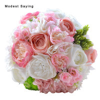 Pack With Box Romantic Soft Pink Artificial Flowers Rosette Wedding Bouquets 2017 Bridal Bridesmaid Bouquets Wedding