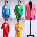 2015 New Male Master Dress Stage Costumes Men Suit MC Host Clothing Singer Suits Blazer Show Solid Jacket Outerwear D200