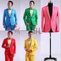 2015 Novo Mestre do Sexo Masculino Figurinos Vestido Terno Homens MC Anfitrião Cantor Roupas Ternos Blazer Mostrar Sólida Outerwear Jaqueta D200