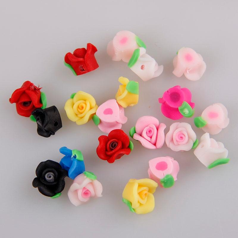 10 мм 10 шт Kawaii мягкая полимерная глина смешанные цвета 3D украшения цветок розы украшения для ногтей Аксессуары для маникюра