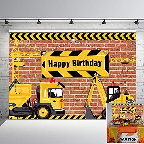 NeoBack Construction Birthday Backdrop Dump Truck Birthday Party Photo Background Cake Table Boy Birthday Decorations Backdrops