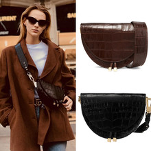 Women Luxury Shoulder Bags Fashion Alligator Leather Saddle Bag Small Round Handbag Summer and Autumn Crossbody Messenger Bags(China)