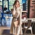 2016 Кардиган женщины зима шерстяной свитер платье новая мода длинный свитер платье кардиган