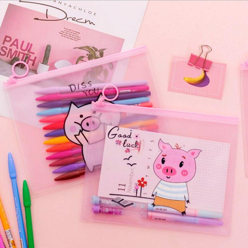 Creative Pink Pig A5 File Bag Korean Cute Girl Heart Ring Zipper Pencil Bag Storage Bag Stationery