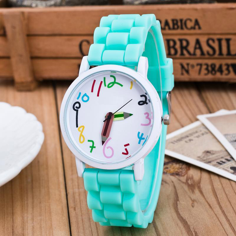 Silicone Watches Children Pencil Pointer Student Watch Quartz Wristwatches Gift Watches LXH