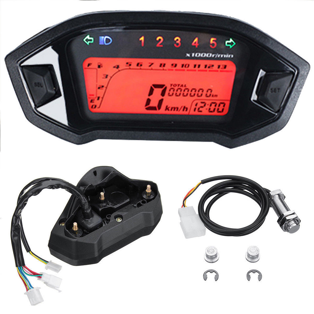 Motorcycle LCD Digital Speedometer Tachometer Universal ATV for 2-4 Cylinders Odometer Tachometer Gauge Backlight Instruments image