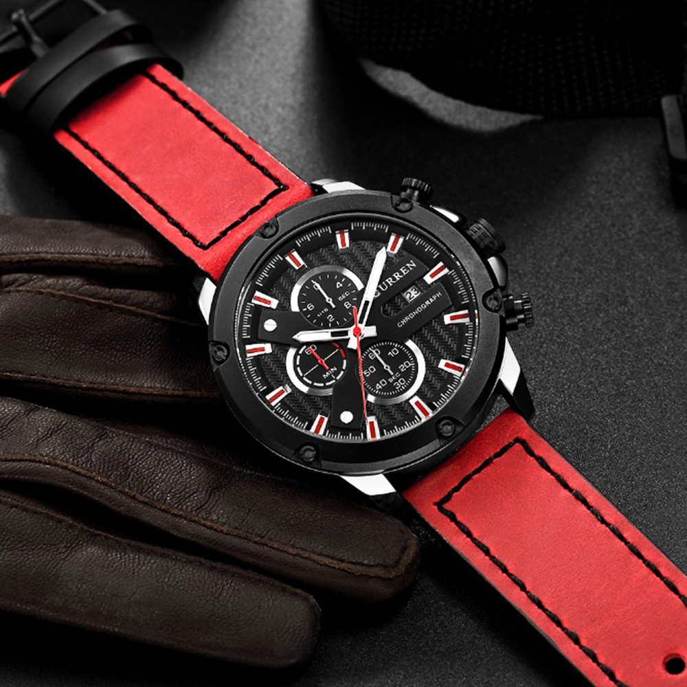CURREN red leather sport men watches fashion casual quartz watch men chronograph waterproof wrist watch relojes montre hommeCURREN red leather sport men watches fashion casual quartz watch men chronograph waterproof wrist watch relojes montre homme