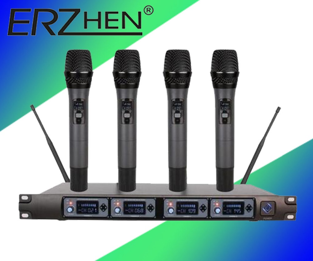 Wireless Microphone System U4000U Professional Microphone 4 Channel UHF Dynamic Professional 4 Handheld Microphone + Karaoke