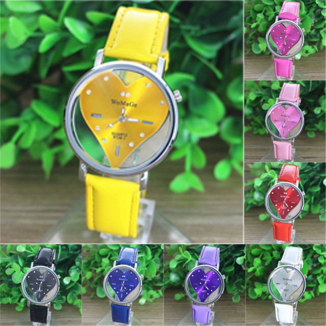 Couple Watches Fashion 2018 Colorful PU Leather Transparent Dial Hollow Heart An