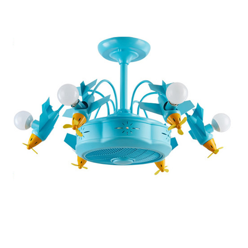 Blue Aircraft Negative Ion Air Purification Fan Lamp Living Room Bluetooth Music Ceiling Fan Lamp Children's Fun Park Lamps