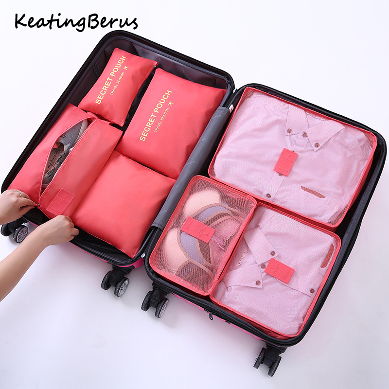 high quality travel luggage 7pcs/set organizer bag Waterproof women Clothing cosmetic arrange storage package Travel Accessories(China)