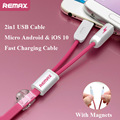Remax 2 in 1 Fast Charging Cable Micro 8pin USB Data Sync Charger Cable for iPhone 7 6 6S Plus 5 5S Samsung S6 S7 J5 Huawei HTC