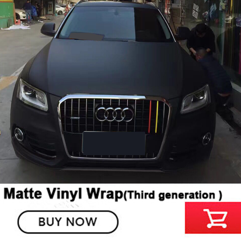 Imported glue Black matte Vinyl Car Wrap self adhesive With Air release Vehicle Wrapping Covering 1.52m*20m for any car