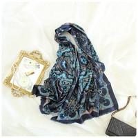 exquisite classic vintage printed 100%goat cashmere women fashion mid thin big scarf shawl pashmina 70x190cm royal blue