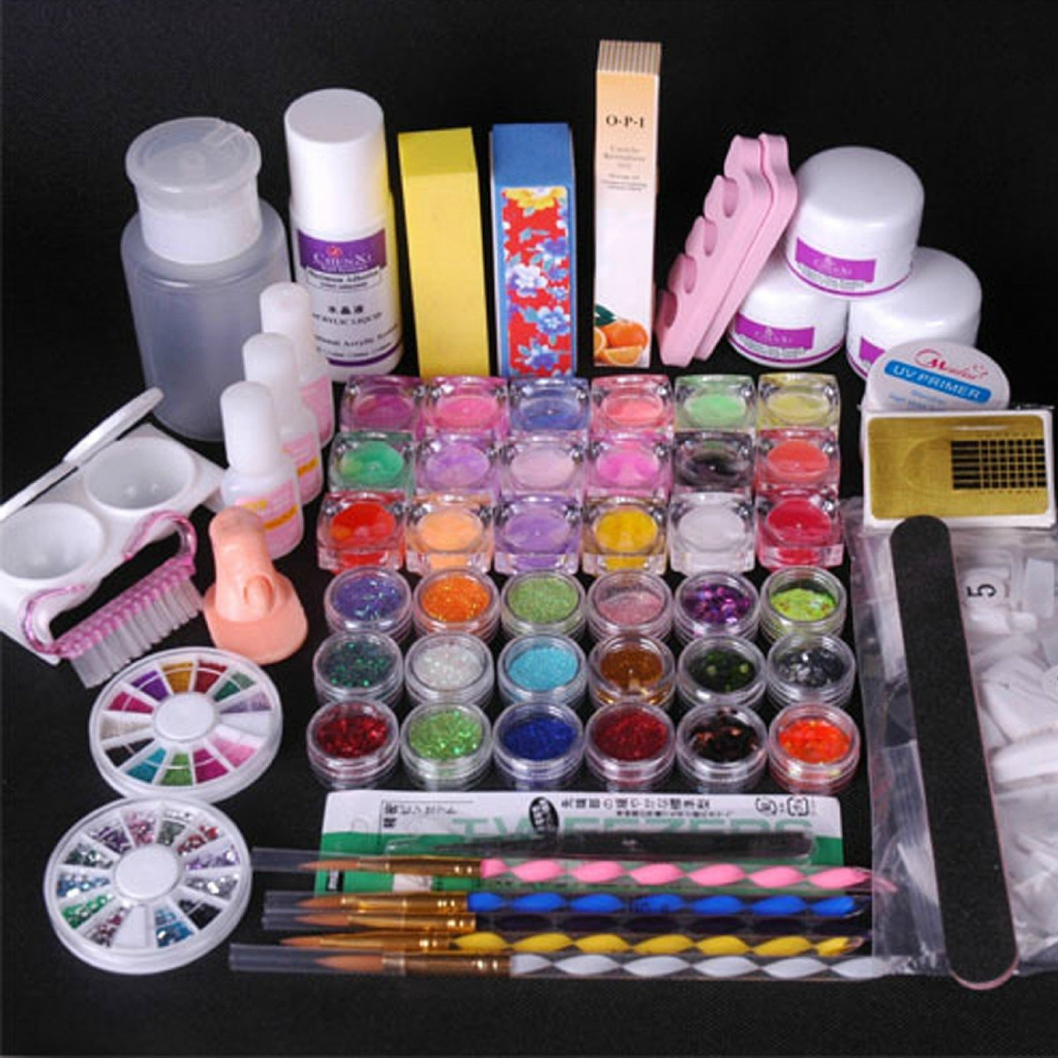 36 Acrylic Powder Liquid KITS Primer UV NAIL ART TIP Set Dust ...