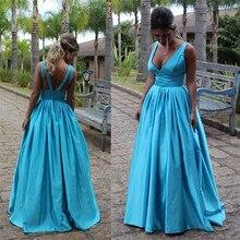 Günstige Blue Stain Langes Abendkleid Sexy V-ausschnitt Rückenfreie Abendgesellschaft Kleider Mode Strass Perlen A-linie Prom Kleid Heißer Verkauf