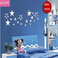 shiny stars acrylic pattern mirror stickers kids room baby room classroom study TV sofa background decoration stickers N5