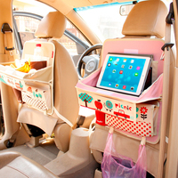 OHANEE Cute cartoon foldable table car back seat organizer backseat storage bag auto drink holder pocket for Baby Kid Hot Sell