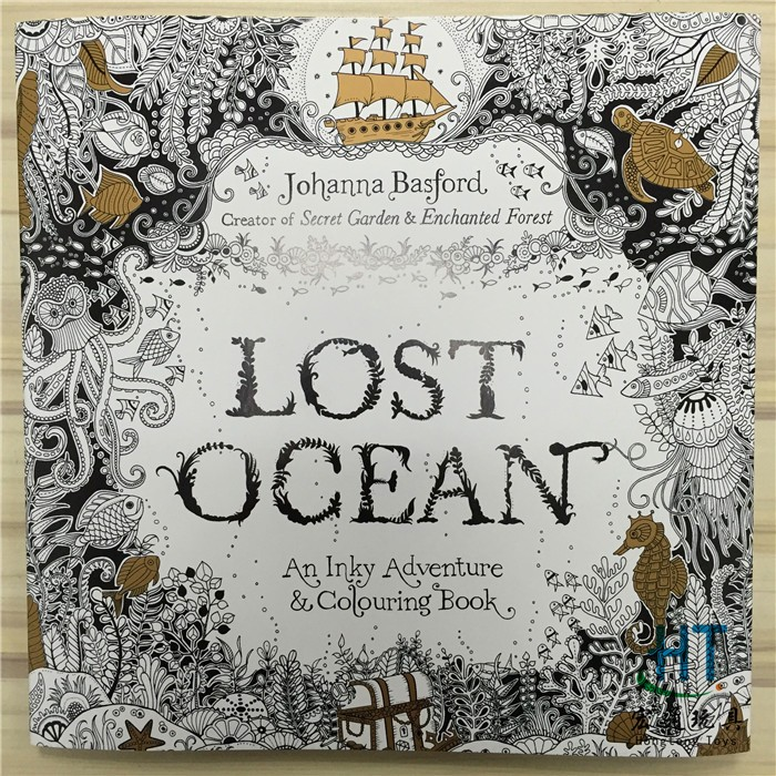 88 Pages English Edition Lost Ocean Secret Garden style Colouring Book For Relieve Stress Graffiti Painting Drawing Book