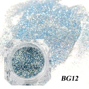 Image 4 - 1 boîte holographique platine Nail Art paillettes mélange flocons paillettes scintillantes manucure poussière Laser argent or poudre Gel décoration TRBG