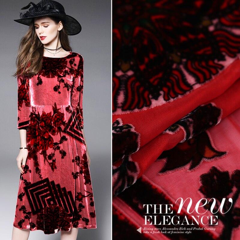 High-end Custom Spring And Summer Burnt-out Velvet Fabric Silk Velvet Fabric Velvet Dress Cheongsam Dress Comfortable Breathable