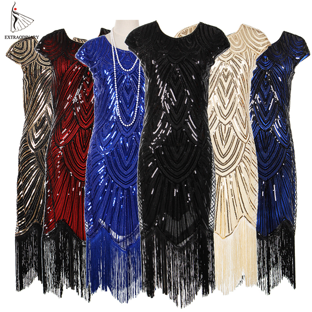 315f5eaade3 1920s Vintage Flapper Great Gatsby Party Dress V-Neck Sleeve Sequin Fringe  Feather Headband Pearl