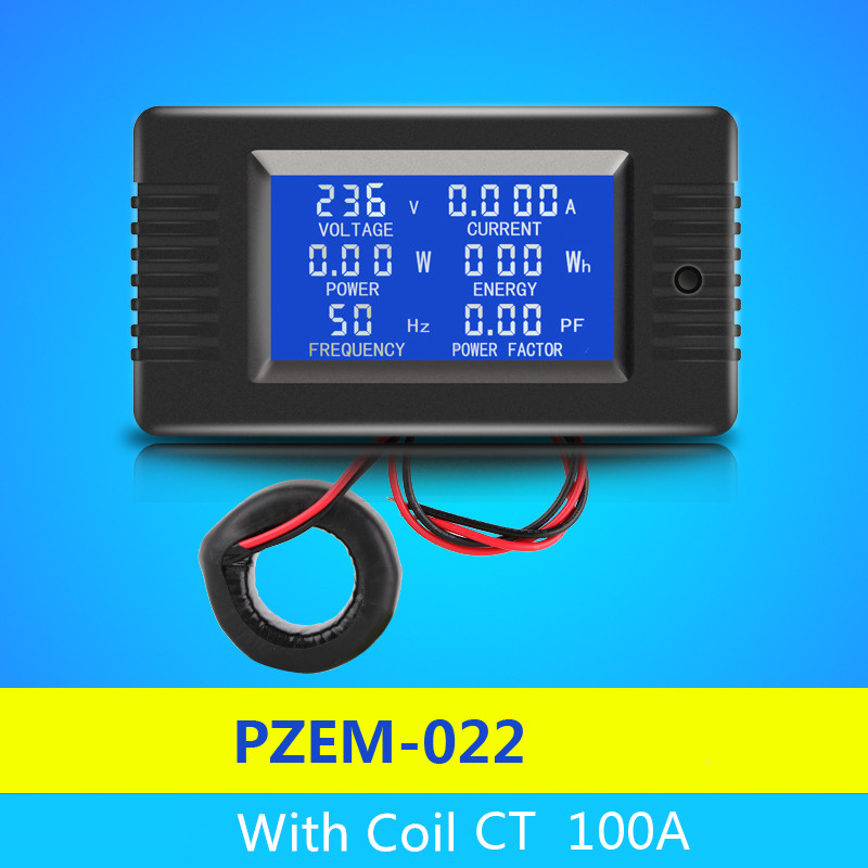 цена на Peacefair Newest AC 6in1 220V 100A Single Phase Digital Panel Amp Volt Current Meter Watt Kwh Power Factor Meter With Coil CT