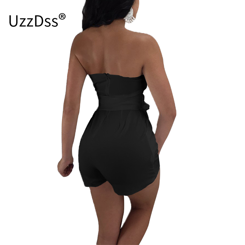 8744ff8c016b UZZDSS Off Shoulder Bodycon Shorts Jumpsuits for Women 2018 Summer Overalls  One Piece Rompers Bodysuit Deep V Sexy Playsuit Bow-in Rompers from Women s  ...