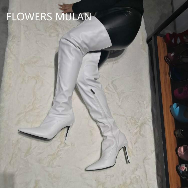 63b44d98862bf4 Shown Hauts Bout Talons Latérale Pointu Chaussures 10 2019 Femmes  Gladiateurs Cm En Blanc Bottes Cuissardes ...