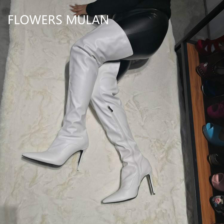 Winter Boots Women 2019 White Leather Thigh High Boots Pointed Toe 10CM High Heels Gladiators Side Zipper Luxury Shoes WomanWinter Boots Women 2019 White Leather Thigh High Boots Pointed Toe 10CM High Heels Gladiators Side Zipper Luxury Shoes Woman