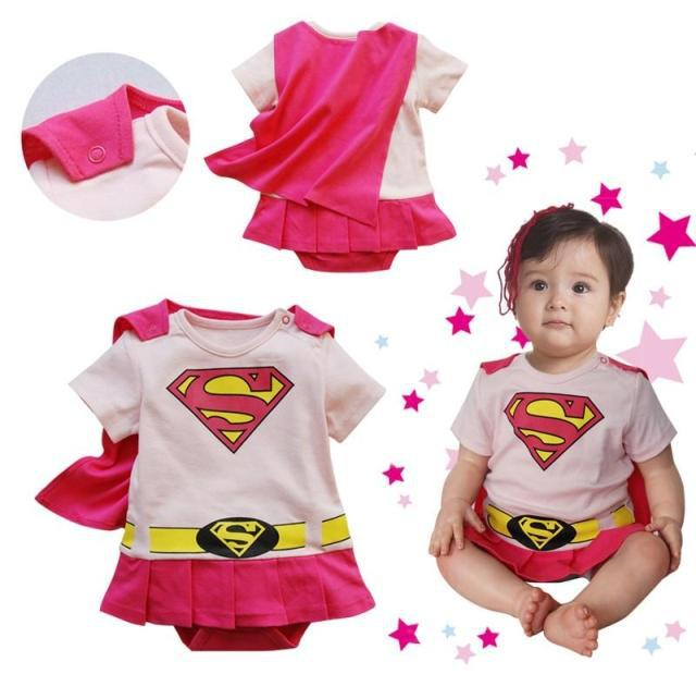 Free Ship New Baby Boy Girl Super Girl Superman Romper with Dress Smock Animal Jumpsuits Infant