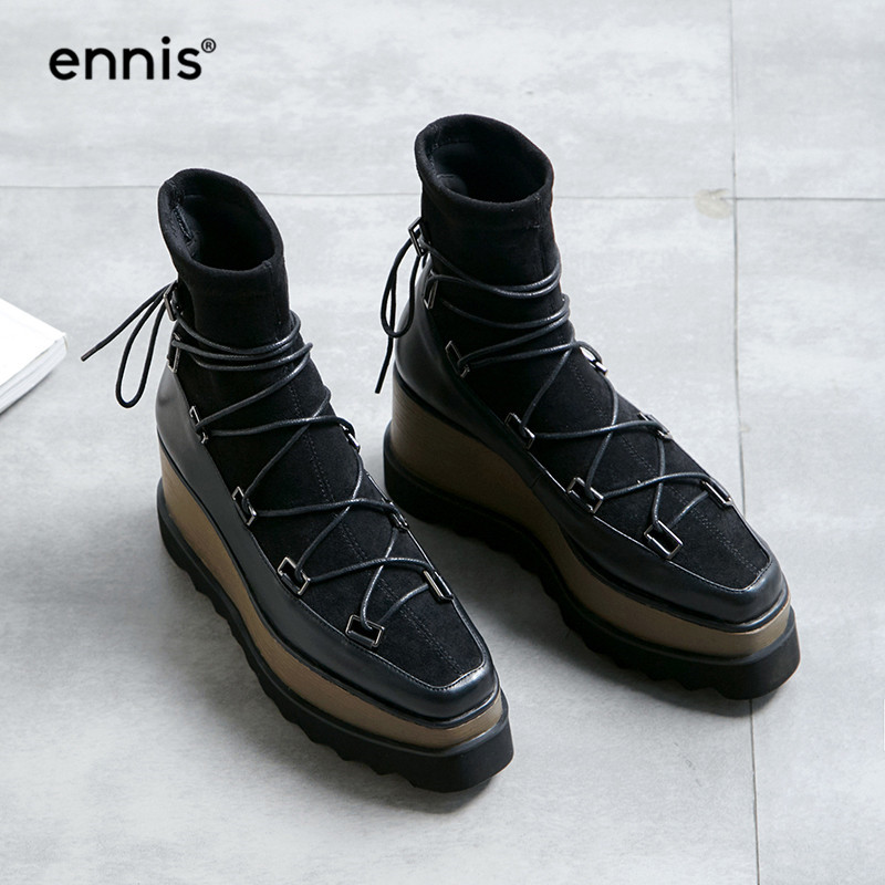ed472f769264 ENNIS 2018 Fashion High Platform Boots Women Flock Stretch Ankle Boots  Wedge High Heel Shoes Autumn Ladies Leather Boots A857-in Ankle Boots from  Shoes on ...