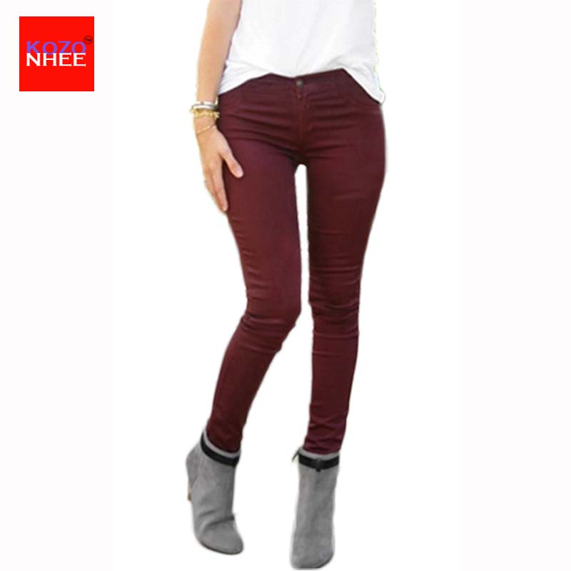 Thin candy Colour stretching Skinny High Waist Jeans Women Elastic Push Up Pencil Jeans  ...