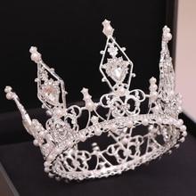Temperamental Pearl Crown Hair Accessories For Women Personality Crystal Princess Birthday Dinner Tiara