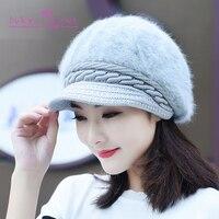 [גבר של אמנות] כובע פרווה ארנב וטרה קוריאנית חורף נשות כובע קטיפה חם עבה כובע צמר החורף חדש לסרוג כובע