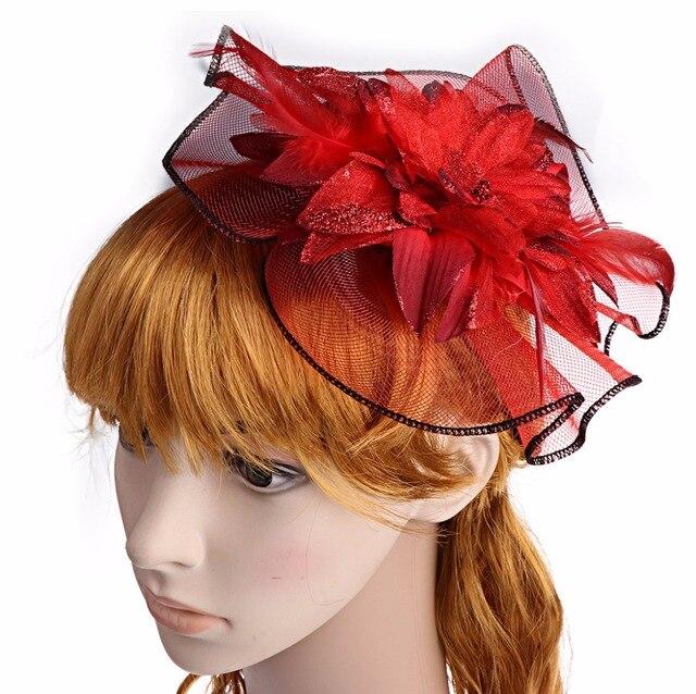 2017 Vrouwen Meisje Dame Charmante Rode Pluim Haar Clip Bloem Kapsel  Decoratie SEP14_30