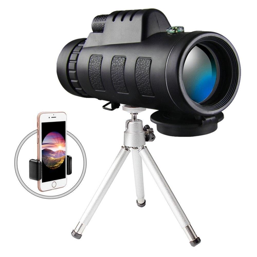 Haute Puissance 40x60 zoom Téléphone portable lentille Monoculaire Portée Étanche Monoculaires Télescope avec Téléphone Clip et Trépied pour iPhone LG
